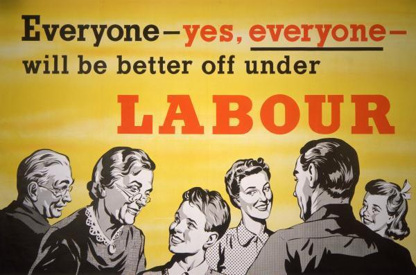 Buone ferie dai socialisti siciliani, con un poster del Partito Laburista britannico del 1957.